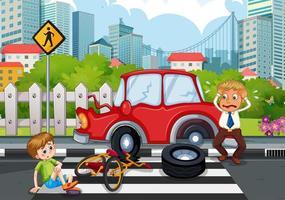 Escena de accidente con accidente automovilístico en la ciudad. vector
