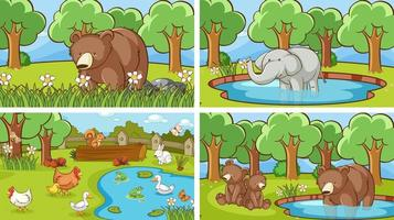 Background scenes of animals in the wild vector