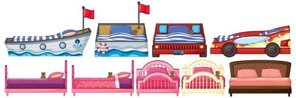 juego de cama en diferentes formas y diseños vector