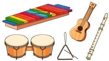 conjunto aislado de instrumentos sobre fondo blanco