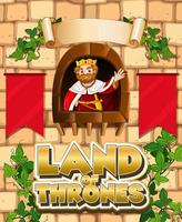 Font design for word land of thrones with king vector