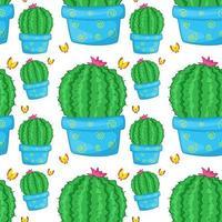 dibujos animados de azulejos de patrones sin fisuras con cactus