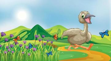 Nature scene background with ugly duckling running in the park vector