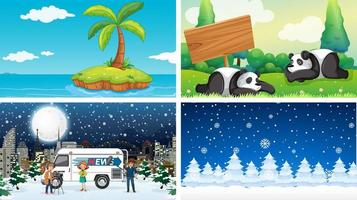 Four scenes of summer and winter vector