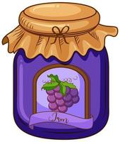 One jar of grape jam on white background
