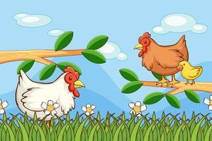 escena con pollos en el jardín.