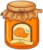 One jar of orange jam on white background