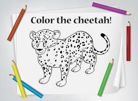 hoja de trabajo para colorear de guepardo infantil
