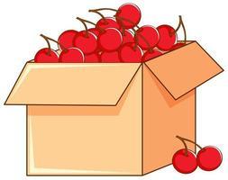 Caja de cerezas rojas sobre fondo blanco.