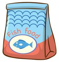 Bolsa de comida para peces sobre fondo blanco.