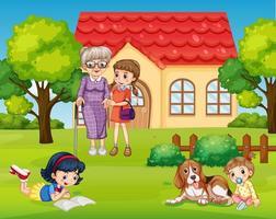 familia feliz en el patio delantero vector