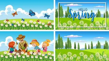 Four background scenes with children and animals in the park vector