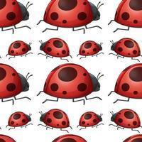 Seamless pattern tile cartoon with ladybug vector