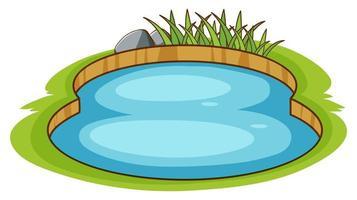 Pequeña piscina en el jardín sobre fondo blanco.