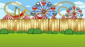 Amusement park fence scene vector