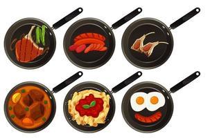 Aerial view of food on pan vector