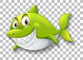 Shark smiling cartoon character on transparent background