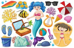 Set of mermaid and summer icon cartoon style on white background vector