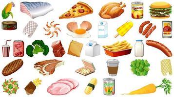 conjunto de alimentos aislados vector