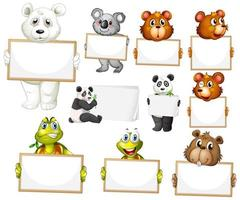 Blank sign template with many animals on white background vector