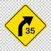 Señal de advertencia de tráfico amarillo sobre fondo transparente vector