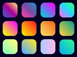 Vibrant gradient color rounded square set vector