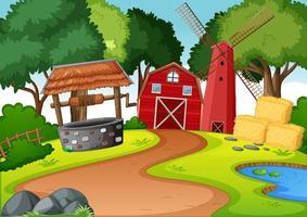 Granja con granero rojo y molino de viento y escena de pozo.