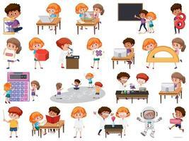 conjunto de niños con objetos educativos. vector