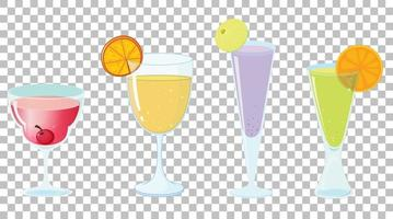 Set of different types of cocktails vector