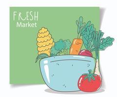 menú saludable y composición de tarjetas de alimentos frescos vector