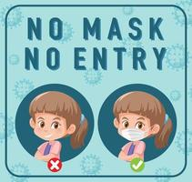 No mask no entry sign with cartoon character