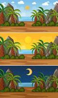 conjunto de escenas de paisaje marino de naturaleza vector