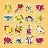 Pop art and comic sticker icon set vector