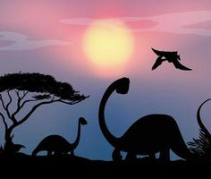 Silhouettes of dinosaurs at sunset