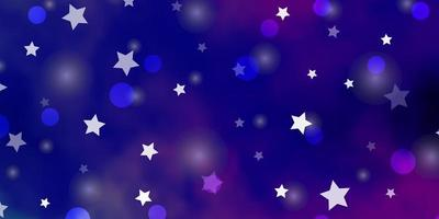 Purple and pink backdrop with circles and stars.