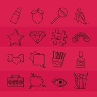 Pop art and comic icon set