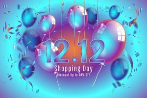 Confetti and titanium rainbow ribbons 12.12 shopping poster