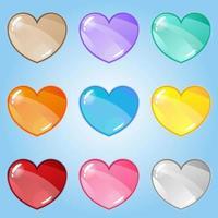 Glossy cartoon heart asset set vector