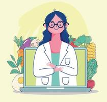 Dietitian doctor with laptop and fresh, healthy food vector