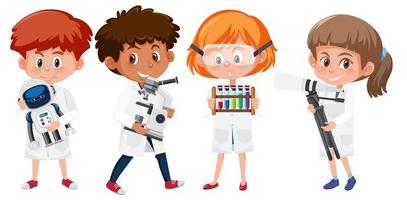 Set of kids in scientist lab coats holding science objects