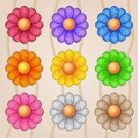 Colorful cartoon flower asset set vector