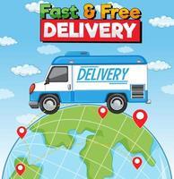 Logotipo de entrega rápida y gratuita con camión de reparto en la tierra.