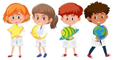 Set of kids in scientist lab coats holding planets