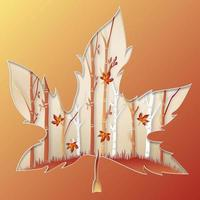 Maple leaf shape paper cut design with forest scene vector