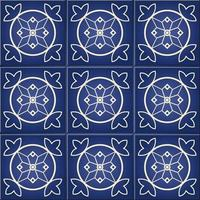 Blue and white Moroccan floral tile seamless pattern vector