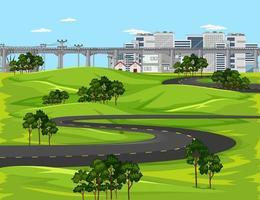 largo camino y puente en la ciudad vector