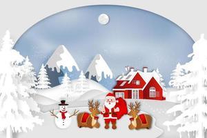 Paper art winter scene with Santa, snowman and reindeer vector
