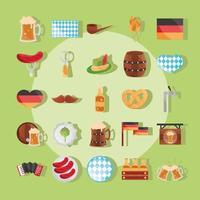 Oktoberfest beer festival and German celebration icon set