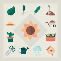 jardinería y cosecha colección de iconos planos