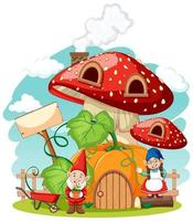Gnomes and mushroom pumpkin house
